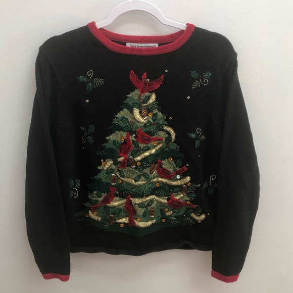 Vintage Holiday Ornament Sweatshirt Size Medium ugly Christmas sweatshirt  embroidered collar